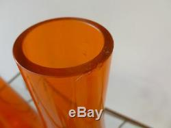 2 Early Large Viking Orange Persimmon Glass Bottle Decanters W Clear Stoppers