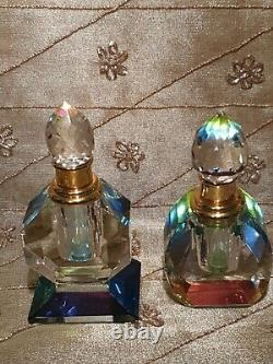 2 LARGE vintage Glass Art Deco style rainbow Prism Perfume Bottles with Stoppers
