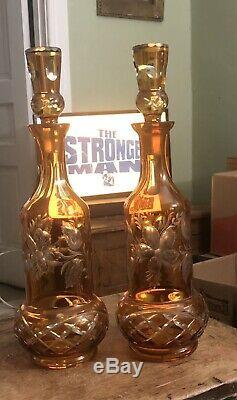 2 large hand made amber cut to clear glass stoppered bottles Bohemian or Czech