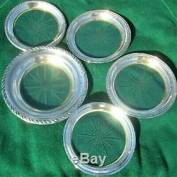 5 LARGE STERLING SILVER WINE BOTTLE BEER STEIN BAR ETCHED GLASS COASTERS 19 ozs
