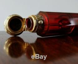 ANTIQUE CASED CRANBERRY GLASS LARGE DOUBLE ENDED SCENT BOTTLE Victorian Ruby