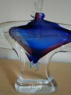 A Fabulous Large Winged Art Glass Perfume Bottle, Signed Chris Comins