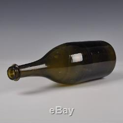 An Excellent Large Antique Dutch Green Glass Wine Bottle From The 18th Century