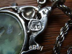 Ancient Roman Bottle Glass Sterling Silver Italy Chain Necklace Large Pendant