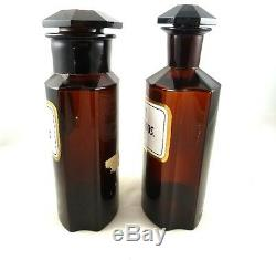 Antique Apothecary Bottles Or Pharmacy Jars, Large Amber Glass Enamel Labels