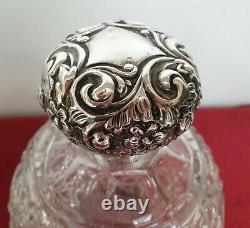 Antique Edwardian V Large Silver Cut Glass Crystal Perfume Scent Bottles Pair 2