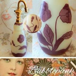 Antique France Pansy Flower Cameo Art Glass Large 9 Perfume Bottle Atomizer