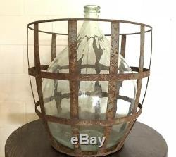 Antique French Glass Demijohn Carboy Extra Large Wine Bottle And Metal Basket