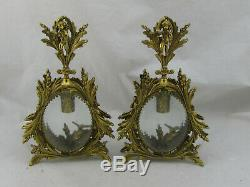 Antique Gold Gilt Gild French Ormolu Perfume Bottle Lot of 2 Large 10 Tall