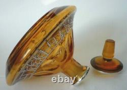 Antique Large Art Nouveau Amber Glass & Silver Overlay Scent Perfume Bottle