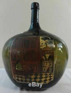 Antique Large Blown Olive Green Glass Demijohn Bottle Hand Painted Floral 1890's