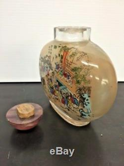 Antique Large Chinese Reverse Glass Painted Snuff Bottle With Agate Lid
