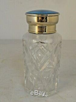 Antique Large Cut Crystal and Sterling Blue Guilloche Enamel Bottle 7 tall