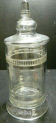 Antique Large Glass Drug Store Candy Display Jar 16 x 6.75 x 6.75 Excellent