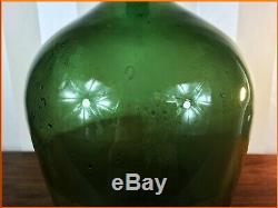 Antique Large Green Brandy Glass Bottle Handblown Vintage French Wine Carboy