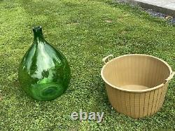 Antique Large Size Green Glass, Hand Blown CarBoy / DEMIJOHN vintage Italy
