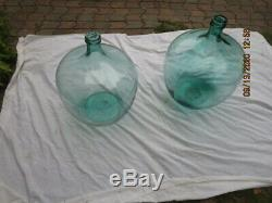 Antique Large Size Pair of Green Glass DEMIJOHNS