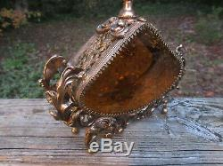 Antique Ornate French Ormolu Perfume Bottle Large Victorian Brass & Amber glass
