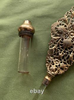 Antique Perfume Bottle Gold Tone. Ornate Victorian Glass Intricate Aged Gilded