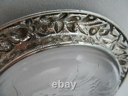 Antique S. KIRK & Son REPOUSSE Sterling Silver & Glass Large Bottle Wine Coaster