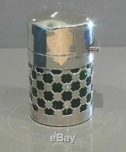 Antique Silver and Green Glass Scent Bottle. Hallmarked. (large)