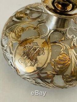 Antique Sterling Silver Overlay Glass Large Perfume Bottle / Decanter Floral