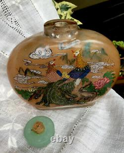 Antique/Vintage- 5 Large Chinese Glass Reverse Painted Snuff Bottle- Stone Top