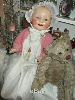 Antique composition doll baby dimples, glass bottle, gown large RARE 25
