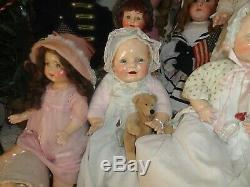 Antique doll large 26 eih baby dimples horsman composition doll withglass bottle