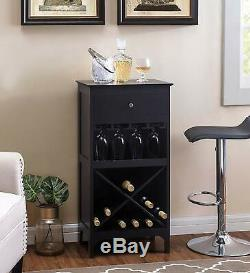 Bar Wine Cabinet Glass Bottle Storage Holder Display with Drawer Wooden Large NEW