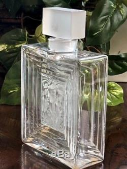 Beautiful Lalique Clear & Frosted Crystal Duncan #2 Large Perfume Bottle