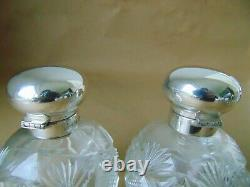 Beautiful Large Pair Sterling Silver Cut Glass Scent Perfume Bottles 1996