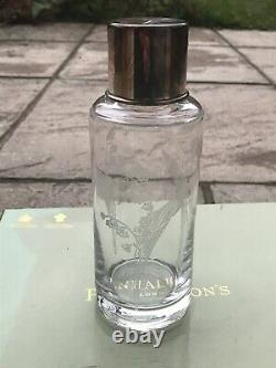 Beautiful Penhaligons Large Glass Etched Bottle With 925 Silver Hallmarked Lid