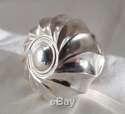 C19th Hob nail cut glass large scent bottle. Sterling silver mount. London 1892