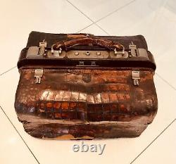 Circa 1890, Large Doctors Bag with gorgeous cut crystal bottles and wood accesso