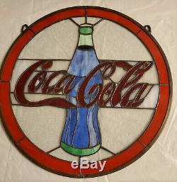 Coca Cola Coke Bottle Large Stained Glass Wall Hanging/Sign