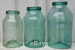 Collection of three very large 19th Century preserving jars blown glass 20½