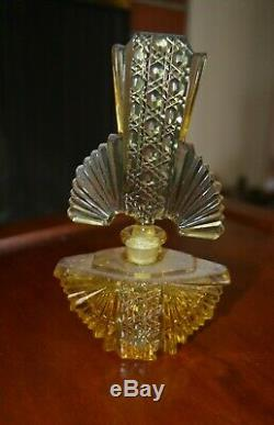 Czech vintage perfume bottle, amber with large matching topper. See details below