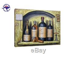 Extra Large Still Life Oil Painting On Canvas Old Wine Bottles And A Glass