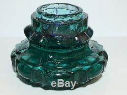 Green Large Heavy Glass Antique Ink Bottle. Inkwell of the 1800s. ORIGINAL