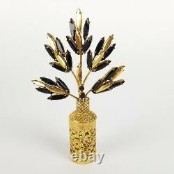 Irice Perfume Bottle Flower Top Jeweled French Black Glass Gold Trim Large 7in
