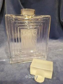 LALIQUE CRYSTAL DUNCAN #3 Clear & Frosted Flacon Large Perfume Bottle Decanter