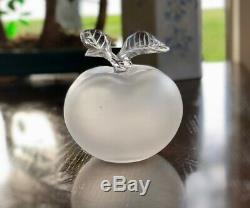 LALIQUE French Crystal Grand Pomme Large Apple Perfume Bottle Signed Flawless