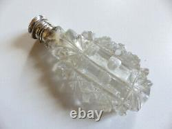 LARGE ANTIQUE 19th C. SOLID SILVER & CUT GLASS PERFUME SCENT BOTTLE c1880 #4
