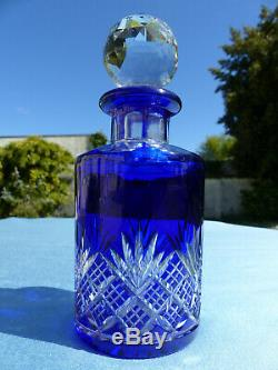 LARGE ANTIQUE FRENCH BACCARAT HAND CARVED BLUE CUT TO CLEAR PERFUM BOTTLE (n3)