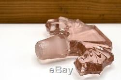 LARGE Antique Deco 1930s Era Pink Crystal Glass Perfume Bottle with Topper
