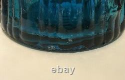 LARGE Empoli Glass Genie Bottle Decanter Made In Italy With Stopper MCM BLUE