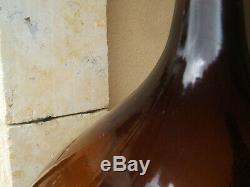 LARGE HUGE ANTIQUE 1900S FRENCH BLOWN MOLDED AMBER GLASS DEMIJOHN Carboy 19th C