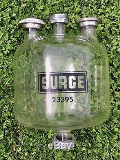 LARGE Pyrex SURGE GLASS RECEIVER JAR milk bottle container dairy parlor Used