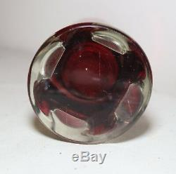 LARGE vintage hand blown red clear Murano Venetian figural glass perfume bottle